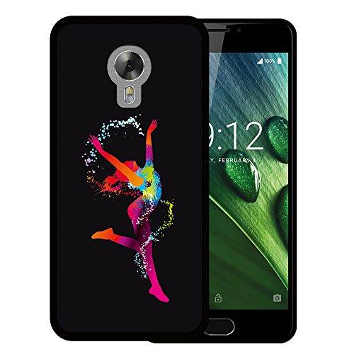 Acer Liquid Z6 Plus Hülle, WoowCase Handyhülle Silikon für [ Acer Liquid Z6 Plus ] Tanzende Frau - schwarzen Punkten Handytasche Handy Cover Case Schutzhülle Flexible TPU - Schwarz