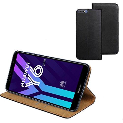 MOELECTRONIX ECHT Leder Buch Klapp Tasche Schutz Hülle Flip Case Etui für Huawei Y6 2018 Dual SIM ATU-L21