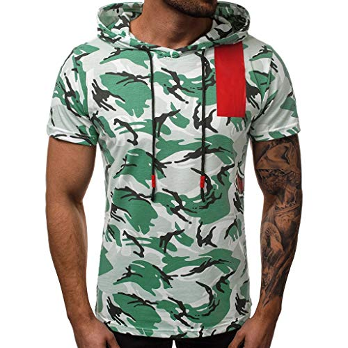 HHyyq Herren Achselshirts Kapuze Weste Für Männer Fashion Camouflage Sport Freizeithemden Ärmellose Kapuzenweste Muskelshirt Fitness Sleeveless Hooded Vest Top t-Shirt Blouse(Blau,L) -