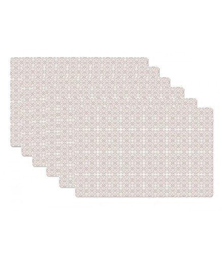 Set de Table Design Petits Carreaux de Ciment Beige en Vinyle - Set de 6