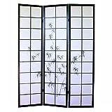 Homestyle4u 285, Paravent Raumteiler 3 teilig, Holz Schwarz, Reispapier Weiß Motiv Bambus, Höhe 175 cm