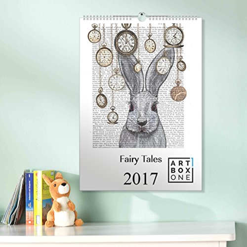 Kalender 2018 Märchenkalender Fairytale von Fabfunky A3 Wandkalender Fabelwesen hochkant mit 12 märchenhaften Illustrationen Wandkalender 2018