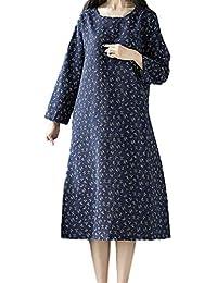 Kleider für Damen Langarm Kleid Maxikleider Blumenkleid Drucken Strandkleid  Vintage Abendkleid Rundhals Elegant Baumwolle Leinen Retro 0073e051c5