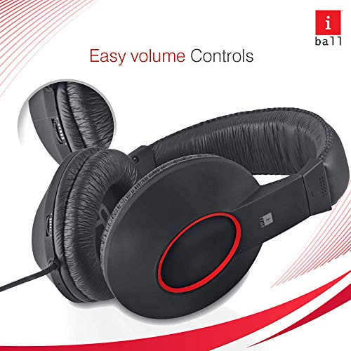 iBall EarWear Rock, Pitch Perfect Sound, Over-Ear Wired Headphones with Mic, Black & Red Image 4