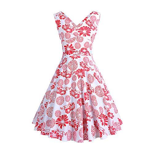 UFACE Kleid 50er Jahre Rockabilly Damen Vintage Polka Dots Blumendruck Bodycon Ärmellos Casual Abend Prom Swing Kleid Röcke Petticoa