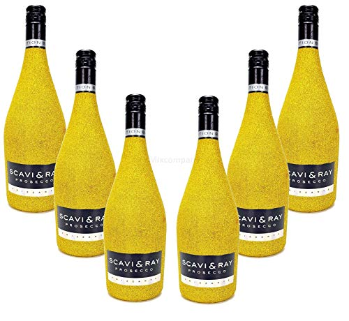 Scavi & Ray Prosecco Frizzante 0,75l (10,5% Vol) - Bling Bling Glitzer Glitzerflasche Flaschenveredelung für besondere Anlässe - Gold Aktion - 6 Stück (6x 0,75l = 4,5l) -[Enthält Sulfite] Voller Bling