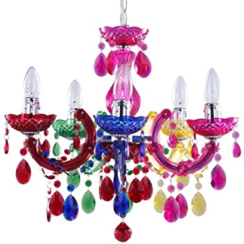 Funky gypsy multicoloured chandelier light amazon lighting 5 light dual mount chandelier marie therese white chrome multi coloured black silver acrylic bedroom living room ceiling light litecraft mozeypictures Choice Image