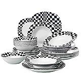 VEWEET Louise Juegos de Vajillas 24 Piezas de Porcelana con 12 Cuencos de Cereales, 12 Platos, 12 Platos de Postre y 12 Platos Hondos para 12 Personas