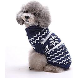 Navidad Mascotas suéter invierno perro nieve lana del perrito alta calidad de la traje caliente ropa de abrigo (S, Azul Marino)