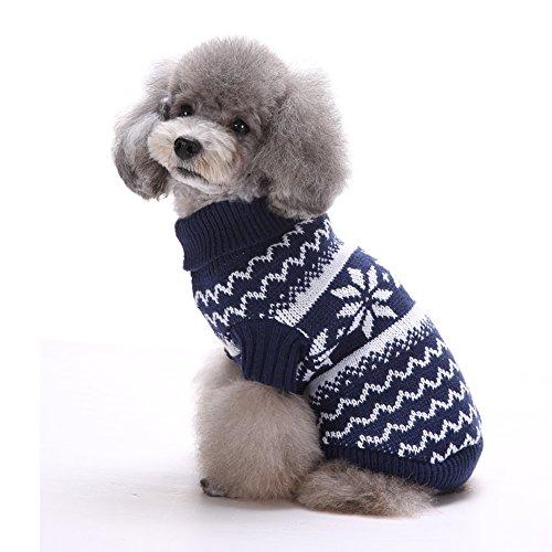Tuopuda Navidad Mascotas suéter Invierno Perro Nieve Lana del Perrito Traje Caliente Ropa de Abrigo (L, Azul Marino)