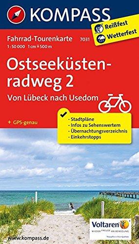 Ostseeküstenradweg 2 - von Lübeck nach Usedom: Fahrrad-Tourenkarte. GPS-genau. 1:50000.: Fietsroutekaart 1:50 000 (KOMPASS-Fahrrad-Tourenkarten, Band 7031)