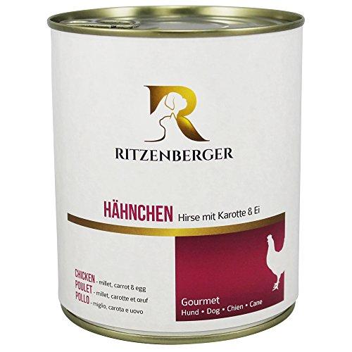 Ritzenberger, cibo per cani, Pollo - miglio, carota e uovo, 6 x 800g, Gourmet