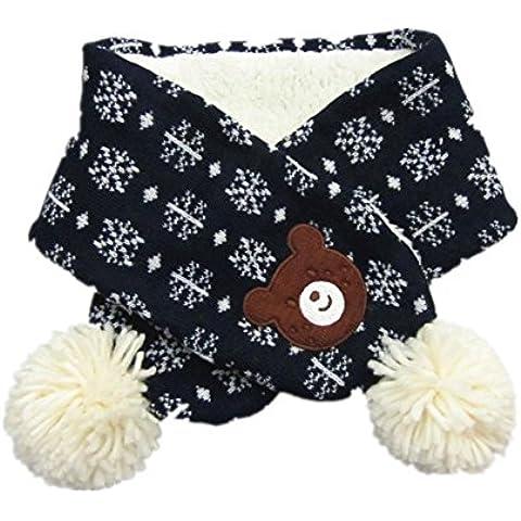 Sciarpa di lana calda maglia blu Navy simpatico orso bambini autunno e in inverno per Gril e ragazzo