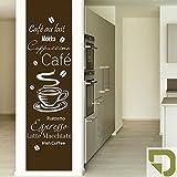 DESIGNSCAPE® Wandtattoo Banner Café, Espresso, Latte Macchiato, Cappuccino, Mokka, Café au lait, Ristretto, Irish Coffee 54 x 200 cm (Breite x Höhe) oliv DW803013-M-F100