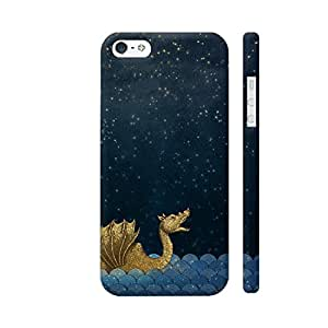 Colorpur iPhone SE Cover - Gold Sea Monster And Moon Printed Back Case