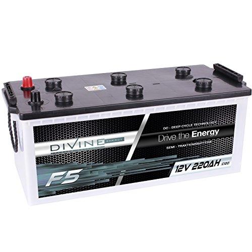 Divine 12V 220Ah Solarbatterie Mover Versorgungsbatterie Wohnmobil Boot Marine Camping Batterie Wartungsfrei