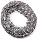 styleBREAKER leichter, seidiger Punkte Muster Loop Schlauchschal/groß und klein gepunktet 01016079, Grau