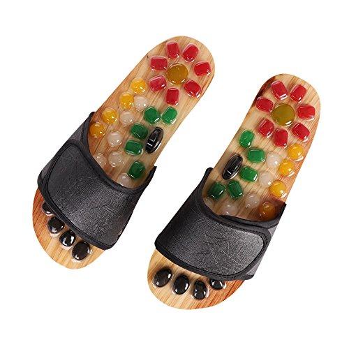 IBLUELOVER Fußmassage Hausschuhe Naturstein Massage Schuhe Reflexzonen Sandalen Akupressur Fußreflexzonenmassagen Naturheilkunde Fußmassagegerät Gesundheit Pantoffeln