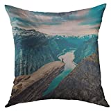 AHENANY Decorative Throw Pillow Cover for Couch Sofa,Manga Anime Happy Girl Show HV Symbol Headphones Home Decor Pillow Case 18x18 Inch