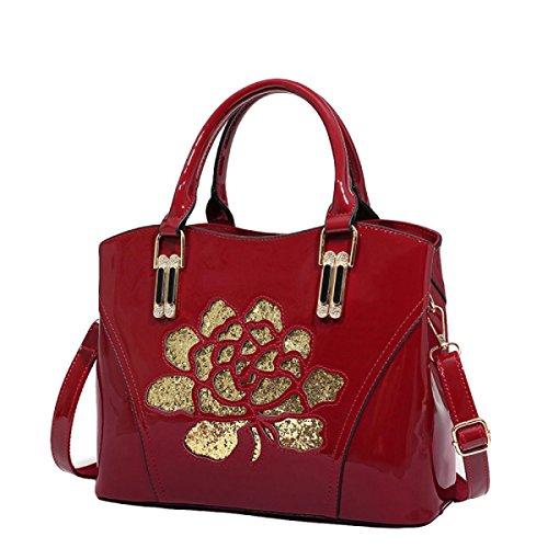 Damen Lackleder Handtasche Mode Casual Schulter Messenger Bag Red