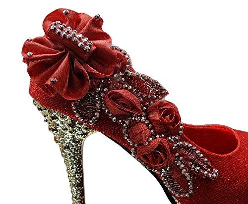 Wealsex Escarpins Mariage Talons Hauts Talon Aiguille Bout Fermé Fleurs Strass Diamant Soirée Cérémonie Taille 34 40 Femme Rouge