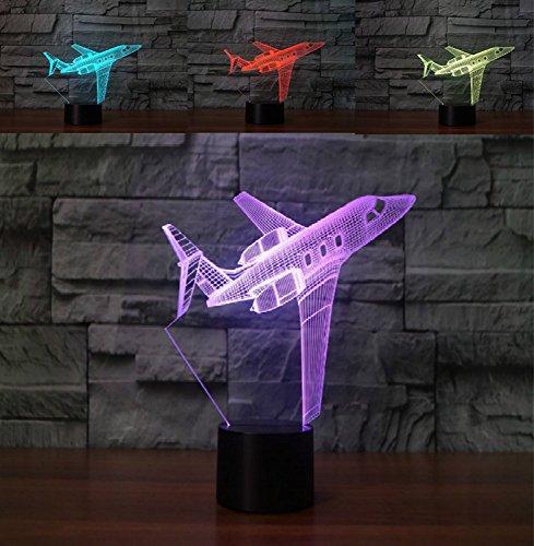 3D flugzeug Optische Illusions-Lampen, Tolle 7 Farbwechsel Acryl berühren Tabelle Schreibtisch-Nachtlicht mit USB-Kabel für Kinder Schlafzimmer Geburtstagsgeschenke Geschenk (Lila Kürbis Geschenke)