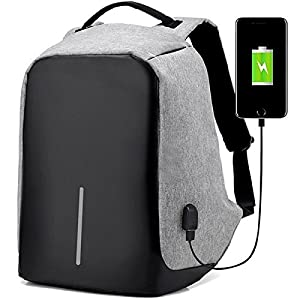 REWY Business Anti-Theft Fabric Water Resistant USB Charging Port Black Laptop Backpack – Colour may Vary