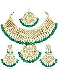 Apara Gold Plated Traditional Kundan Choker Semi Bridal Necklace Maang Tikka Jewellery Set for Women