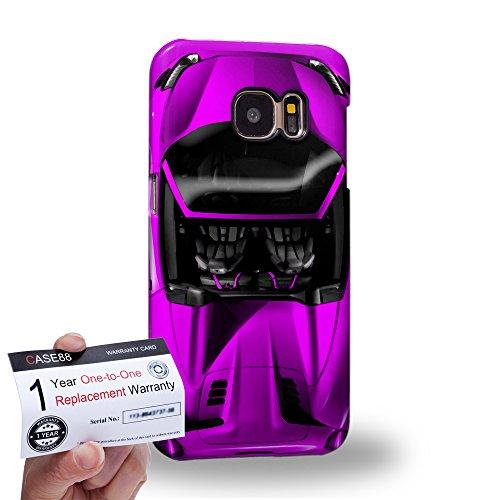 Case88 [Samsung Galaxy S7] 3D Hülle / Schutzhülle & Garantiekarte - Art Design Purple Sport Car