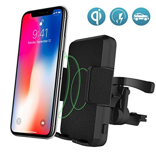 Auto kabellos Ladegerät, VIFLYKOO 2 in 1 Qi Wireless Schnellladestation mit Air Vent Handyhalterung für iPhone X / 8/8 plus, Samsung Galaxy Note 8 / S7 / S8 /S9/S9 Plus, alle Qi-fähigen Geräte [3 Jahre Garantie] (Auto-telefon-vent Halter Lg G3)