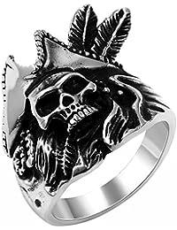 JewelryWe Gioielli Anello da Uomo Donna Acciaio Inossidabile Capitano Pirata Anello Band per fidanzamento e matrimonio Teschio Cranio Punk Stile