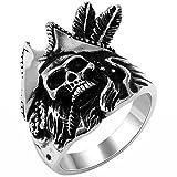 JewelryWe Schmuck Biker Edelstahl Herren-Ring, Totenkopf Schädel Piratenring, Schwarz Silber, mit Geschenk Tüte - Größe 57