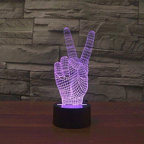 Lampe 3D ILLUSION Lichter der Nacht, kingcoo 7Farben LED Acryl Licht 3D Creative Berührungsschalter Stereo Visual Atmosphäre Schreibtischlampe Tisch-, Geschenk für Weihnachten, Kunststoff, la victoire 0.50 wattsW - 6