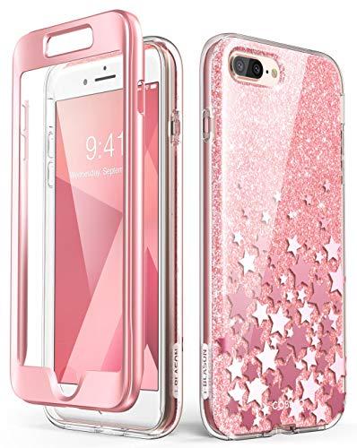 i-Blason iPhone 8 Plus Hülle iPhone 7 Plus Hülle Glitzer Handyhülle Ganzkörper Bumper Case Glänzend Schutzhülle Sparkle Clear Cover [Cosmo] mit integriertem Displayschutz (Pink)