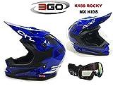 Nuovo Caschi Moto - 3GO K-188 ROCKY Casco Bambini Moto, MX Off road...