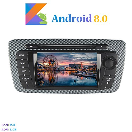 "Hi-azul Android 8.0 Car Autoradio, Dash 2 Din 8-Core 64Bit RAM 4G ROM 32G Car Radio 7\"" Autonavigation Kopfeinheit Car Audio für Seat Ibiza (2009-2013) (Autoradio)"
