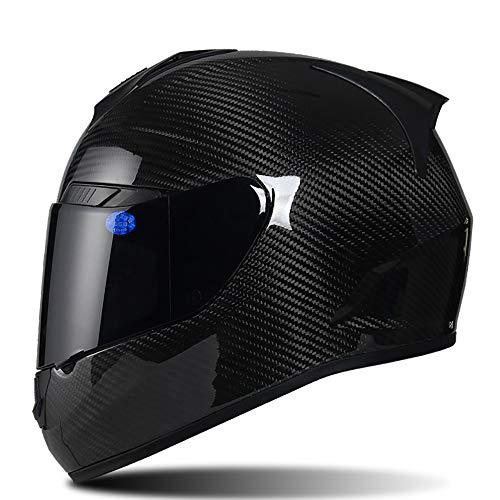 SRUN Casco Integrale Casco Moto Unisex in Fibra di Carbonio Nero Casco Moto da Corsa Leggera Race ATO, (M, L, XL, XXL),3,XL