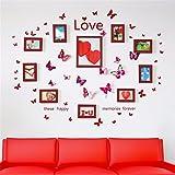 XPY-wall sticker Wandtattoos wandaufkleber Wandbilder Tapeten Wandsticker-Hängender Wand-Kombinationsfotowandhochzeitsraum-Liebe der Fotowand-Fotorahmen Herz-Förmiger Schmetterling, 103 * 130CM