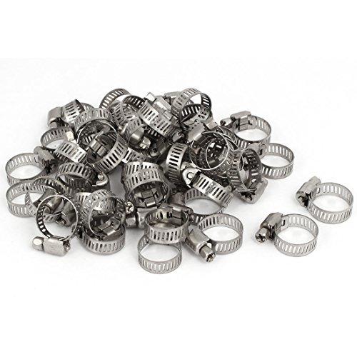 DealMux Raccord 13 millimetri-19 millimètres réglable Worm Gear colliers Silver Clip ton 50pcs