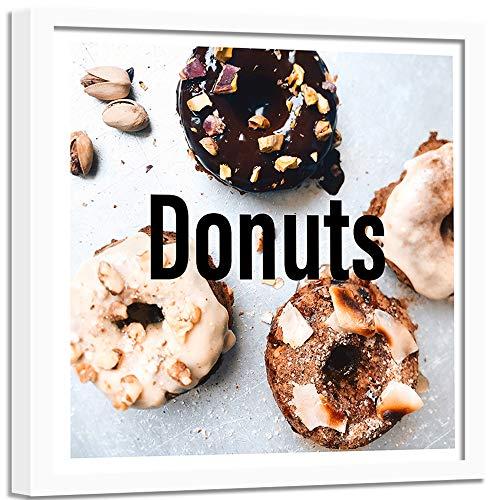 Feeby Wanddeko weißer Rahmen Donuts Schokolade Nüsse Bild Art Küche Braun 60x60 cm