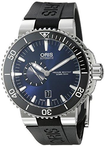 Oris Aquis Taucher Datum Blau Zifferblatt Schwarz Gummi Mens Watch 743–7673–4135rs