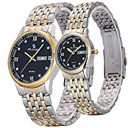 Valentine's Day Gifts, Hansee Lovers' Watches, Stainless Steel Band, Couple Crystal Rhinestore Watch, Luxurious Quartz Wrist Watch (Gold)