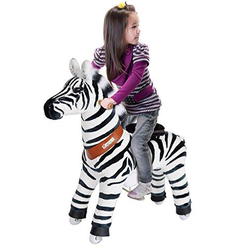 PonyCycle®Shop ORIGINAL Pony auf Rollen Fahrendes Schaukelpferd und Kuscheltier,Revolutionäre Kinderfahrzeug auf Inline-Skates Zebra Klein