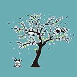 Jerome10Dan Kunst-Wandaufkleber, handgemalte zarte Kinderzimmer Aufkleber Wandbild Kirschbaum Panda handgemalte Wandaufkleber für Wohnzimmer Schlafzimmer