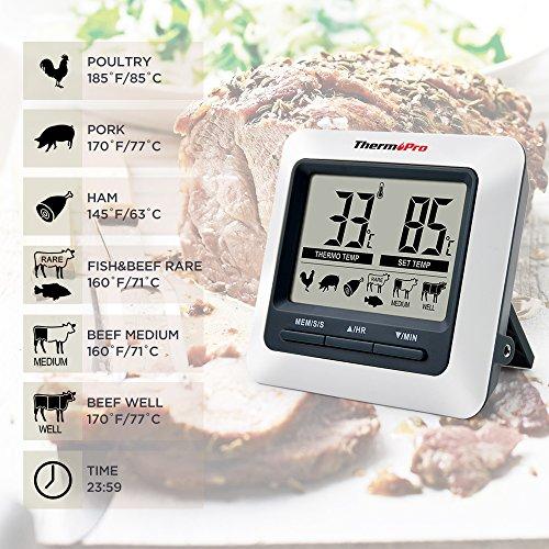 ThermoPro TP04 Termómetro Digital de Cocina para Carne Horno Barbacoa, Gran Pantalla LCD con Temperatura de Alarma, Temporizador de Cocina