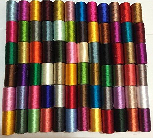 100x große Kunst Seide Rayon 100% Nähen Stickgarn Qualität massiv Farben -