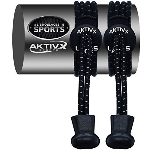 AKTIVX SPORTS Schnürsenkel - Elastische No Tie Schnürsenkel Zum Zuklemmen, Ersatz Schnürsenkel Qw-Black-1