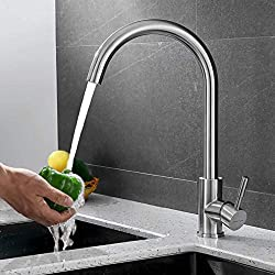 BONADE Elegant Gebürstet Silber Küchearmatur Mischbatterie Spültischarmatur aus Edelstahl SUS304 mit ABS Bubbler Kann Wasser 30% Sparen für Küche Waschbecken