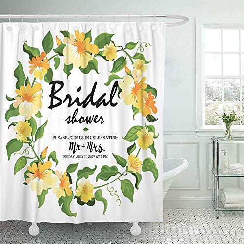 LINGJIE Duschvorhang Floral Bridal Shower Flowers Leaf Luxury Nature Sketch Shower Curtains Sets with Hooks Waterproof Polyester Fabric