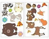 plot4u 17-Teiliges Lustige Waldtiere Wandtattoo Set Kinderzimmer Babyzimmer Bär-Chen in 5 Größen (2x41x66cm Mehrfarbig)